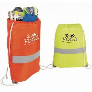 Safety Reflective Polyester Drawstring Backpack